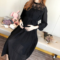 Spring Chiffon Maternity Pregnant Dresses Long Sleeve Pregnancy Maternity Clothing Pleated Fashion Dress for Pregnant Women