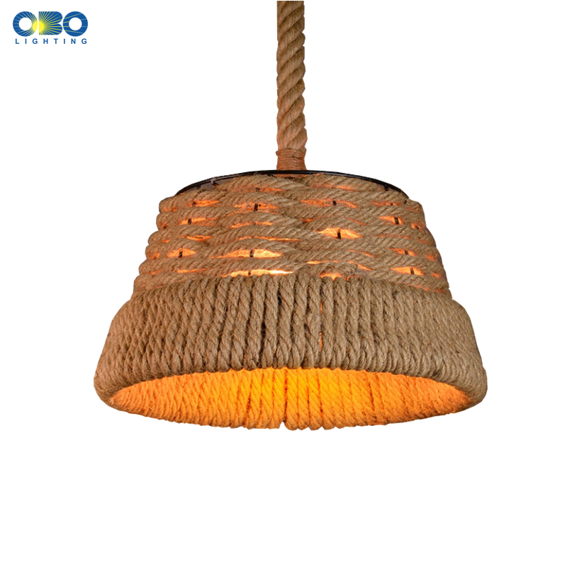 Vintage Hemp Rope Lampshade Metal Pendant Lamp Indoor Lighting Bar/Shop/Coffee House Pendant Lights  E27 110-240V