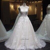 Vestido Longo; новые Стиль Свадебные платья А корсет Назад Аппликации Тюль Свадебное Платье Vestidos De Noiva