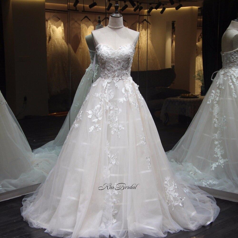 Vestido longo Neueste Stil A linie Brautkleider Korsett Zurück ...
