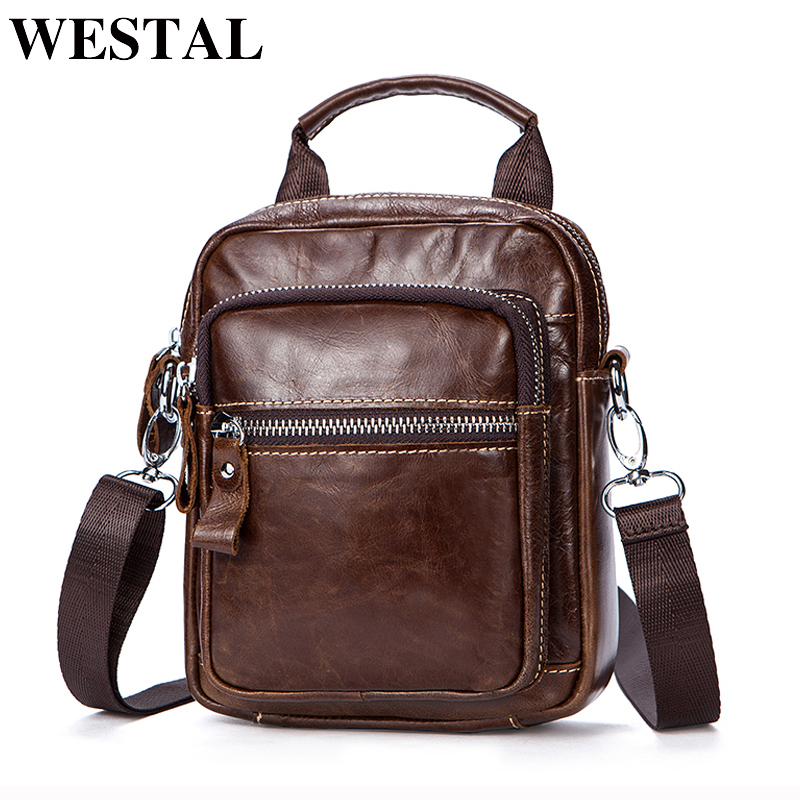 WESTAL Men Bag Genuine Leather Shoulder Bags Sling Waist Pack Small Shoulder Handbags Messenger Bag Men Leather Crossbody Bags bullcaptain messenger bag leather men bag genuine leather waist pack small shoulder crossbody bags fashion ipad belt chest bags