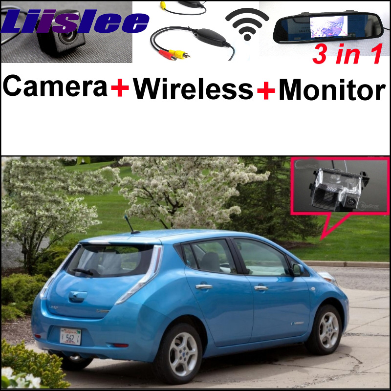 For Nissan Leaf 3 in1 Special Rear View Reversing Camera + Wireless Receiver + Mirror Monitor Easy DIY  Back Up Parking System