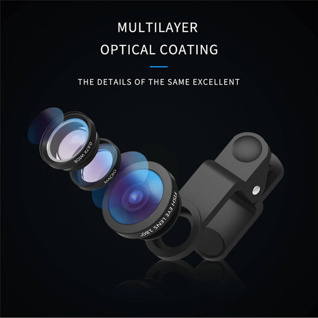 Universal 3 in 1 Mobile Phone Lenses For iPhone 7 6s plus xiaomi huawei samsung Fish eye Lens Wide Angle Macro Camera Lens