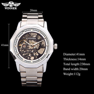 Image 5 - WINNER brand watches men mechanical skeleton wrist watches fashion casual automatic wind watch gold steel band relogio masculino