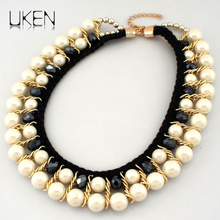 UKENDesigner Jewelry Fashion Gold Color Chain Twined Double Layer Imitation Pearl Beads Bib Choker Necklaces For Women N3118
