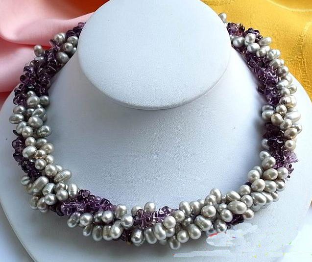 купить Handmade Real Pearl Jewellery,4Rows 17inches Rice Gray Freshwater Pearl Amethystes Necklace,New Free Shipping. онлайн