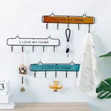 Creative Solid Wood and Iron Art  Decoration Hooks Japanese Style Idyllic Retro Clothes Hat Keys Small Hanging Rack Kitchen