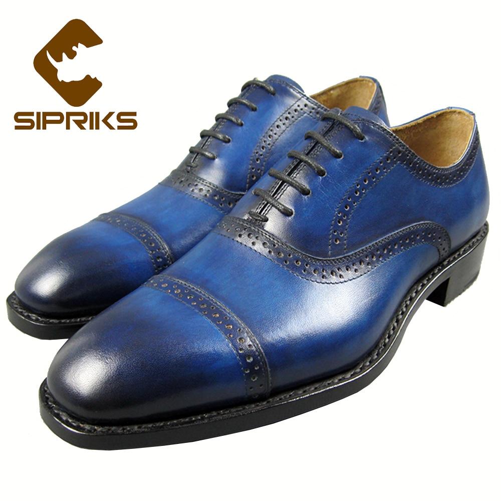 SIPRIKS luxury font b mens b font blue tuxedo font b shoes b font two toe
