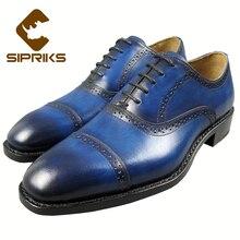 SIPRIKS luxurious mens blue tuxedo footwear two toe costume footwear italian customized goodyear welted footwear for males fits males footwear european