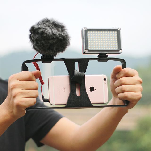 Ulanzi Smartphone Caso Mango Vídeo Rig Estabilizador de Cine película youtube videos/obtener Led Light & VideoMicro Rode micrófono