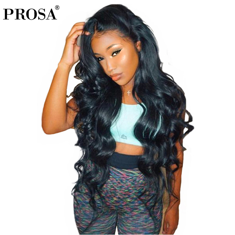 Lace Front Human Hair Wigs For Women 250% Density Body Wave Brazilian Lace Front Wig Natural Black Color Remy Full Ends Prosa