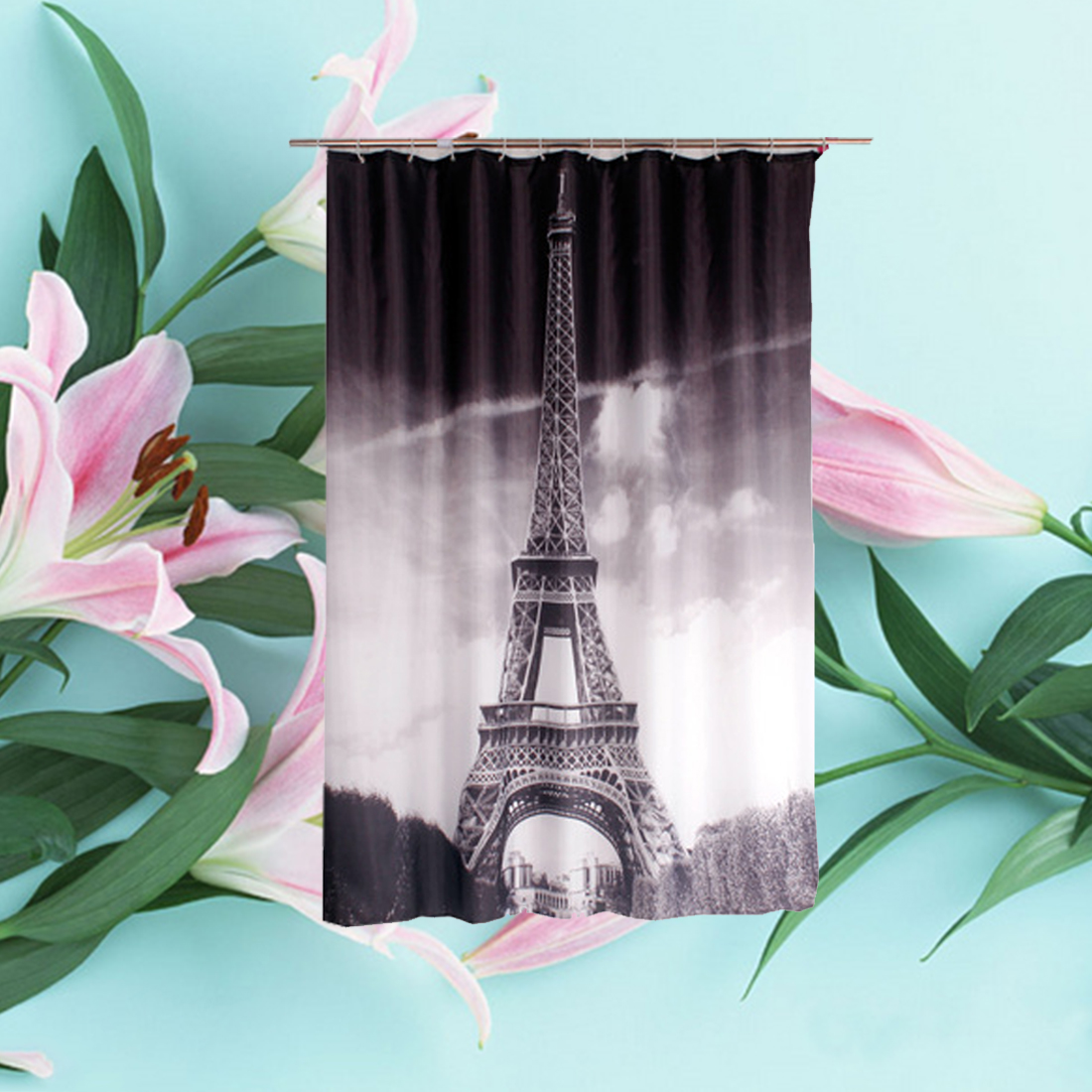Fabric paris shower curtain - New Paris Shower Curtains Design Water Resistance Fabric Polyester Waterproof Home Bathroom Curtains 180 180cm