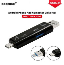 Egeedigi Type-C/Micro USB 3 in 1 OTG TF Memory Card reader Flash Adapter Connector For Android Cell Phone PC Computer Extension