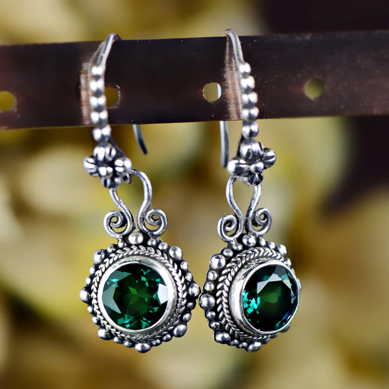 Real 925 Sterling Silver Earrings Natural Stone Vintage Crystal Earrings For Women Emerald Fine Jewelry Boucle D'Oreille