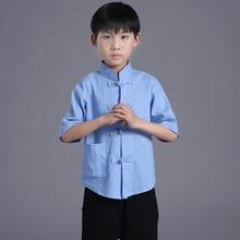 Flax children kungfu costume boy Tai Chi Uniform Martial Art Uniform Clothing chinese tang suit for summer Wushu Costume 12