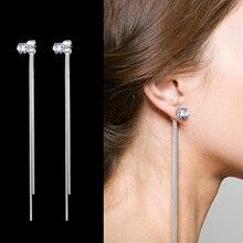 New Fashion Zircon Silver Plated Dangle Hanging Gem Stone Rhinestone Long Drop Earrings For Women Jewelry