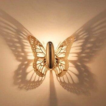 Nordic Arte Da borboleta Do Vintage Lâmpada LED Luminárias Arandela de Luz Sala de estar Quarto Lâmpada de Cabeceira Luz Da Noite Em Casa Docor