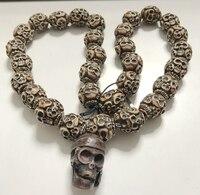 Free Shipping YQTDMY crazy Rock Punk Skull Collares Necklace Vintage Pirate Skeleton Women Jewel (30 skull beads + 1 skull head)