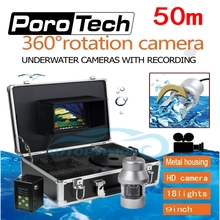 F08A 50m Underwater camera with DVR function+8G Card free 9″LCD 1000TVL 360 Degree Rotating Fishing Camera 18pc LED Fish Finder