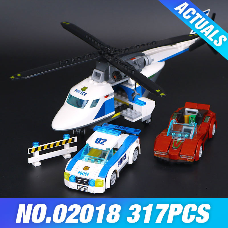 LEPIN 02018 317Pcs City Policemen Series High-speed pursuit of aircraft Set Building Blocks Brick Model Toys For Children 60138 супер мозаика d20 5цветов 40 фишек 02018