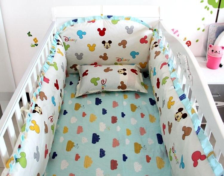 Discount! 6pcs Baby bedding sets 100% cotton bedclothes Cartoon crib bedding set ,include(bumper+sheet+pillowcase)