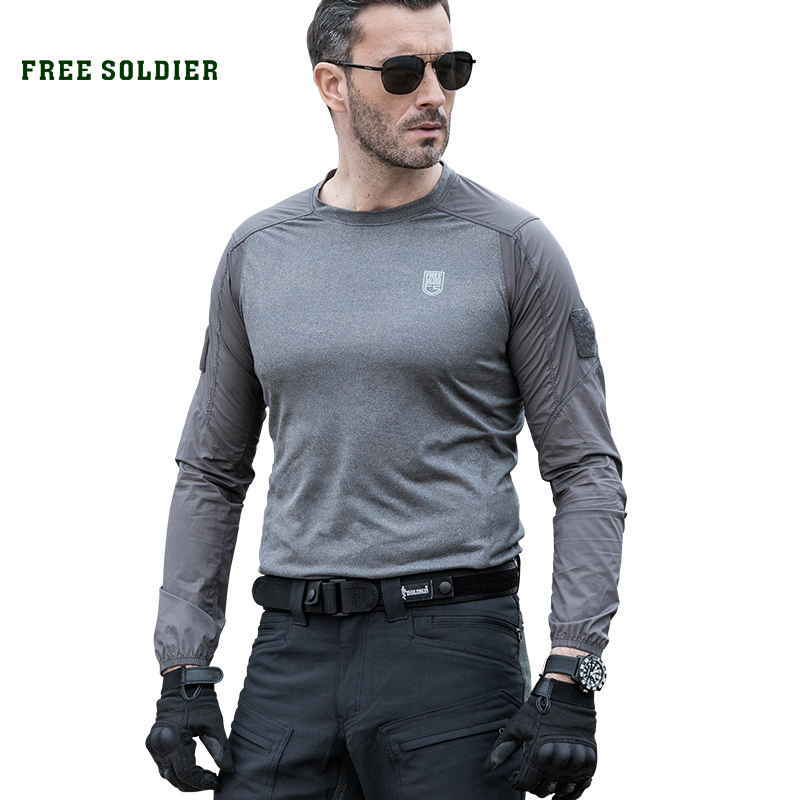 FREE SOLDIER Outdoor sports camping hiking tactical long sleeve t shirt quick drying breathable elastic T