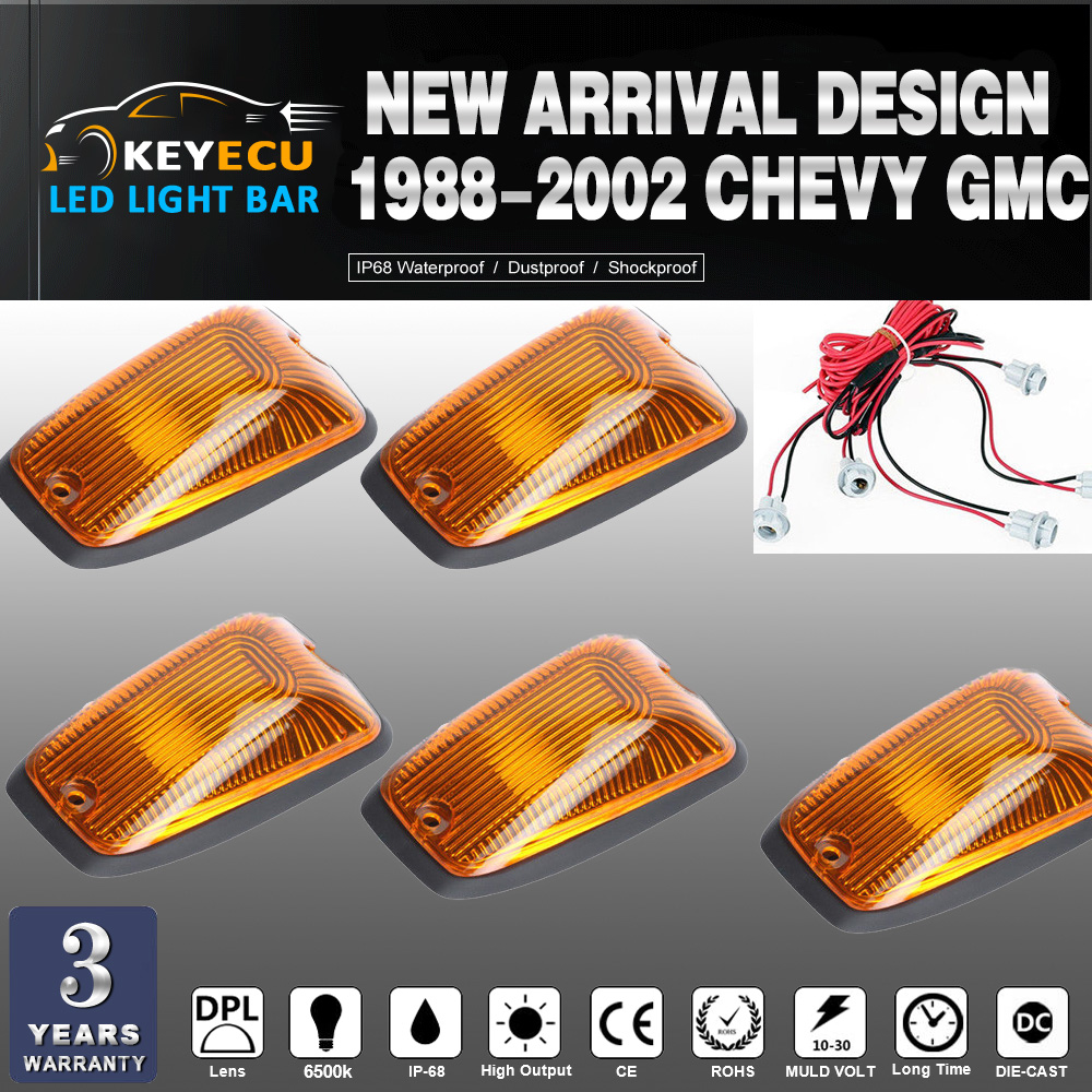 KEYECU 5pcs Cab Roof Running Marker light Amber Cover For 1988-2002 Chevy GMC Direct Replacement for fast feet or curved roofs