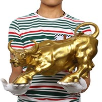 Wholesale # office home protective efficacious Talisman House Protection Money Drawing gold Charging Bull bronze statue