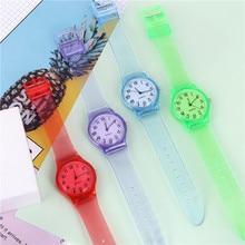 Transparent Silicone Watches Women Sport Quartz Wristwatch Fashion Casual Crystal Ladies Watch Novelty Cartoon Clock