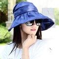 2017 Летом женские Широкими Полями Beach Sun Hat Мода Chapeu Feminino Складная Козырек Шапки Открытый Анти-Уф Крышка