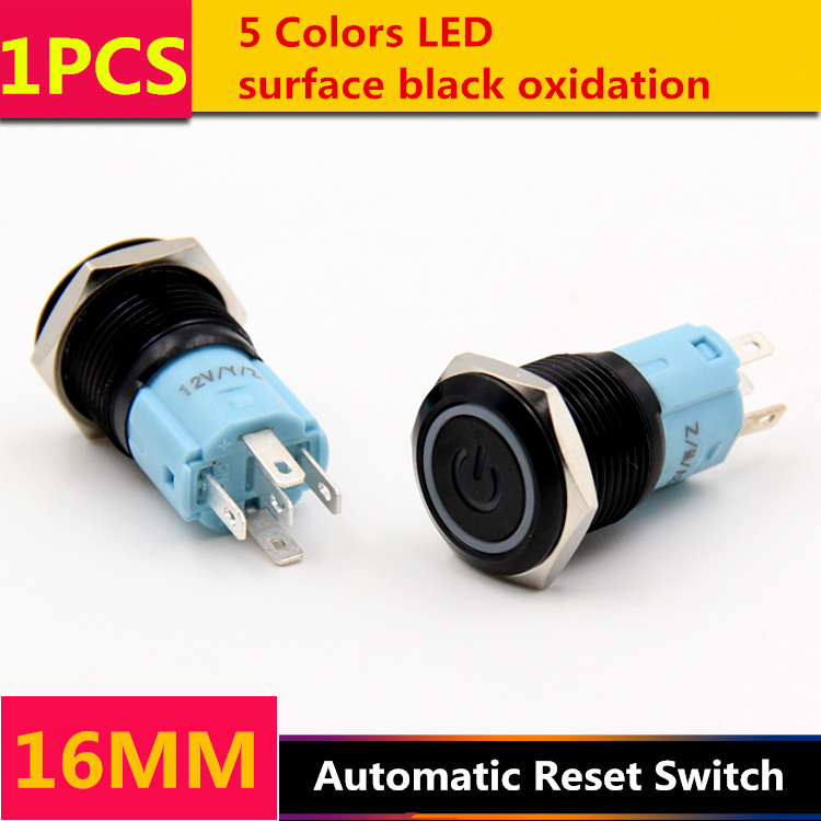 1PCS YT1063  16 mm Black Oxidation Metal Push Button Switch  Automatic Reset Switch With 5 Colors LED Power Symbol  220V