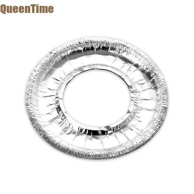 QueenTime 10Pcs/Set Aluminum Foil Gas Stove Burner Covers Round Stove Liners Heat Resistant Cookware Mat Kitchen Cleaning Tools
