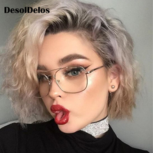 Original Oculos Metal Oversized Square Eye Glasses Frame Women Vintage Ladies Sunglasses Men Transparent Eyewear DesolDelos