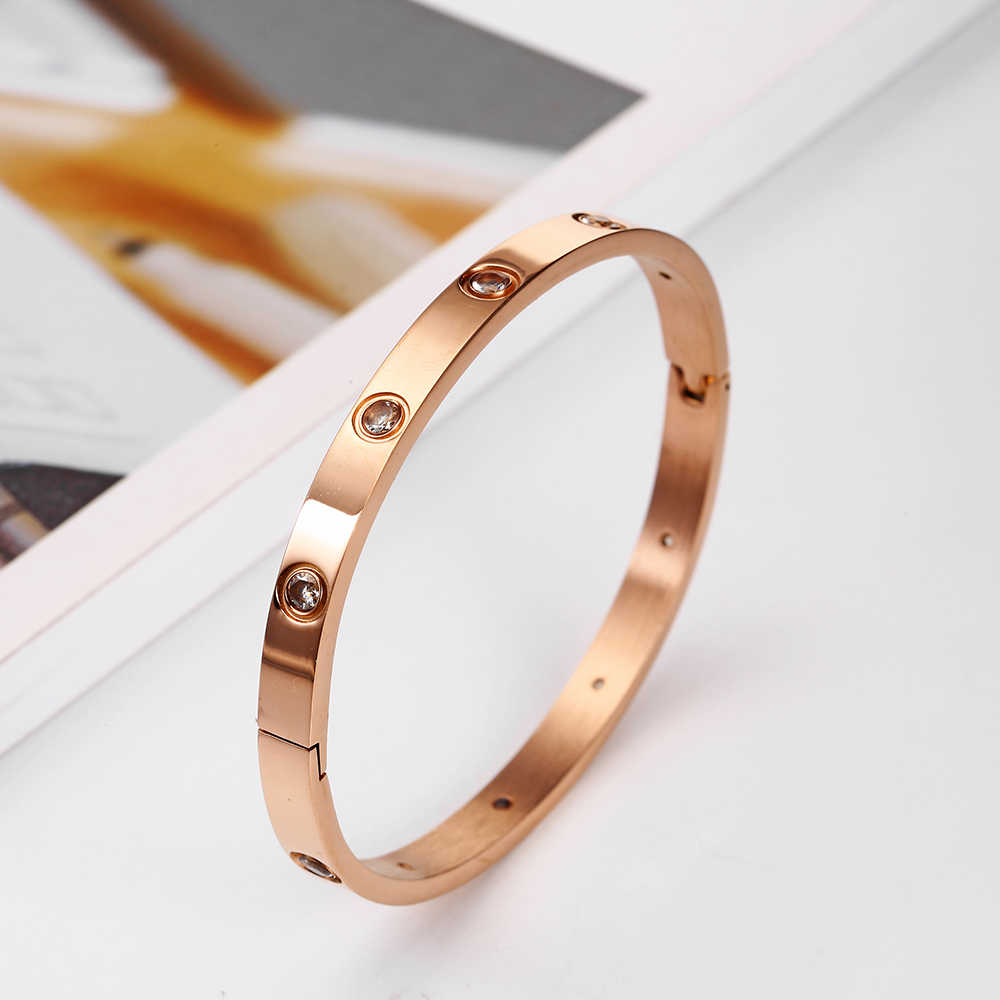 Rose Gold Bracelet White Crystal Bohemian Women's clothing Accessories Stainless steel Fashion Jewelry Valentines day Wholesale