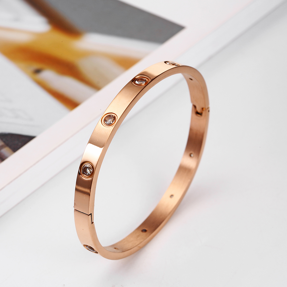 Rose Gold Bracelet women's bracelets Crystal bangles for women Bohemian Stainless steel Fashion Jewelry love Valentines day Gift