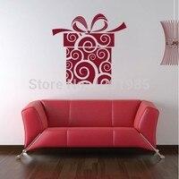 Vrolijke Mooie Geschenkdoos Venster Viny muurstickers stickers Indoor ornament mas ambachten ontwerp kerst decoratie voor thuis
