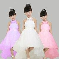 Girls Wedding Dress European Style Hanging Neck Girl Dress Children Clothing Fishtail Girl Party Dress Flower