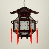pendant light residential lighting restaurant antique waterproof wooden balcony corridor six lanterns pendant lamps ZA1130120
