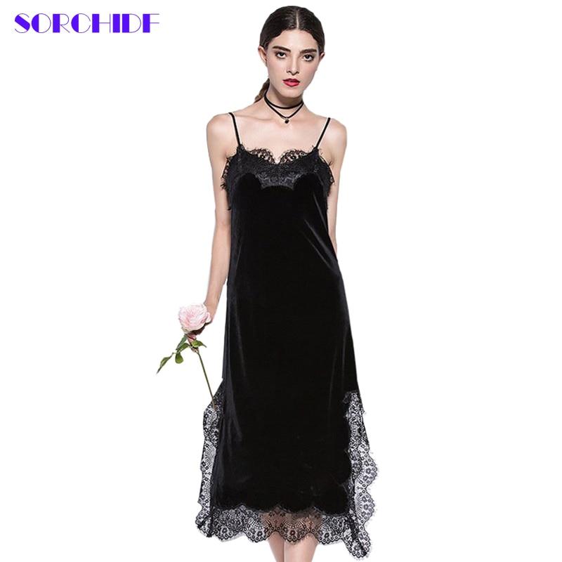 SORCHIDF 2017 Sexy Black Lace Velvet font b Cami b font Dresses Slip Backless Spaghetti Strap