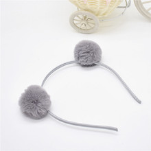 Hairband headpieces rabbit ears plush ball big hair head hoop hair accessories