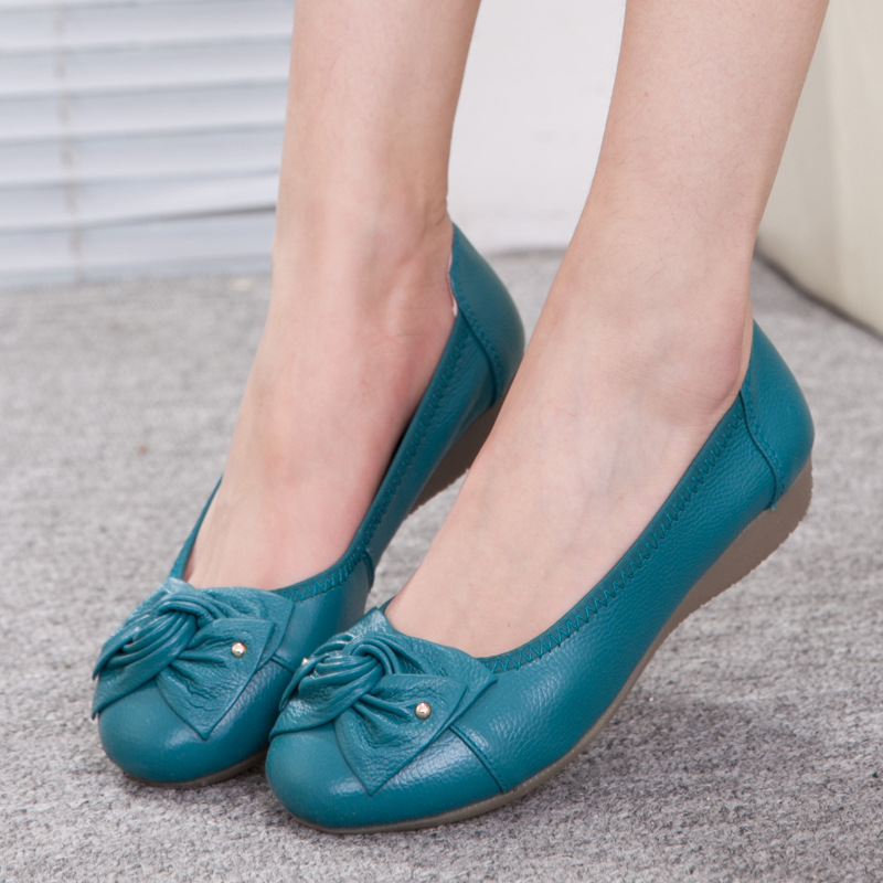 Plus Size Spring\Autumn Genuine Leather Shoes Woman Flats Work Classi Fashion Bowknot Female Casual Ballet Ladies Shoes beyarne rivets decoration brand shoes flats women spring autumn fashion womens flats boat shoes sexy ladies plus size 11