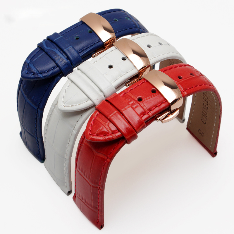 High-quality Leather, Watch Accessories 18mm 19mm 20mm 21mm 22mm Strap with rose gold butterfly buckle цена