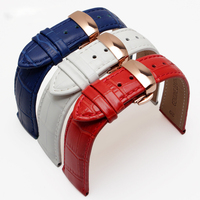 Hot Sale Watchband High Quality Leather Watch Accessories 18mm 19mm 20mm 21mm 22mm Strap With Rose