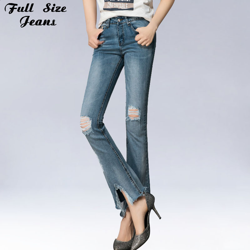 New Design Summer Spring Plus Size Ripped Jeans For Women Denim Flare Jeans Sexy SKinny Pants Blue Trousers XS 5Xl XXL 6Xl 54 56 plus size pants the spring new jeans pants suspenders ladies denim trousers elastic braces bib overalls for women dungarees