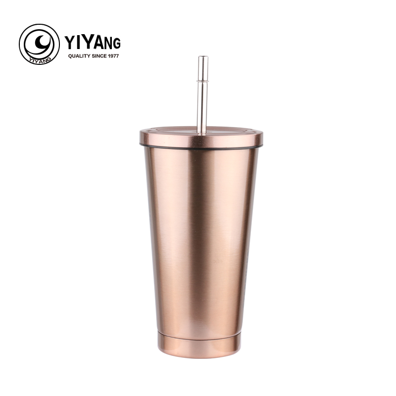 Rose Gold Reusable 473ml Stainless Steel Coffee Mug Metal