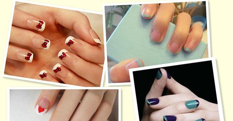 New Fashion 48PCS/Lot Nail Sticker DIY French Manicure Nail Art Decorations Round Form Fringe Guides Nail Sticker 4
