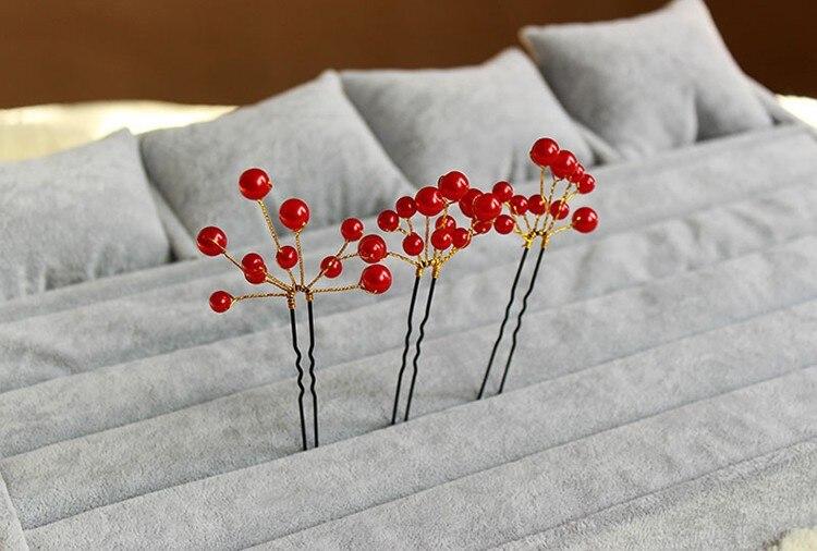 HIMSTORY жемчужные свадебные аксессуары для волос, палочки для волос, свадебные украшения для волос, аксессуары для волос красного и белого цвета