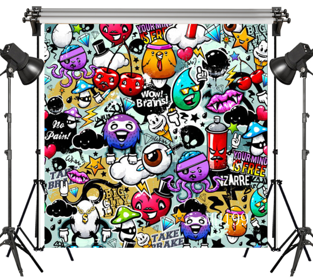 Lb Polyester Vinyl Cartoon Graffiti Cool Cute Ball Studio Backdrop Photography Photo Props Photographic Background Decoration In Background From Consumer