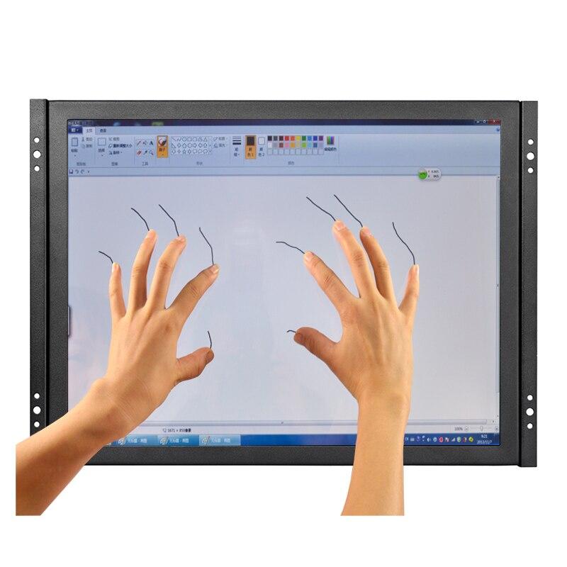 15 pouce faible coût capacitif écran tactile moniteur 1024*768 en plein air écran tactile moniteur avec AV/BNC/ VGA/HDMI/USB interface