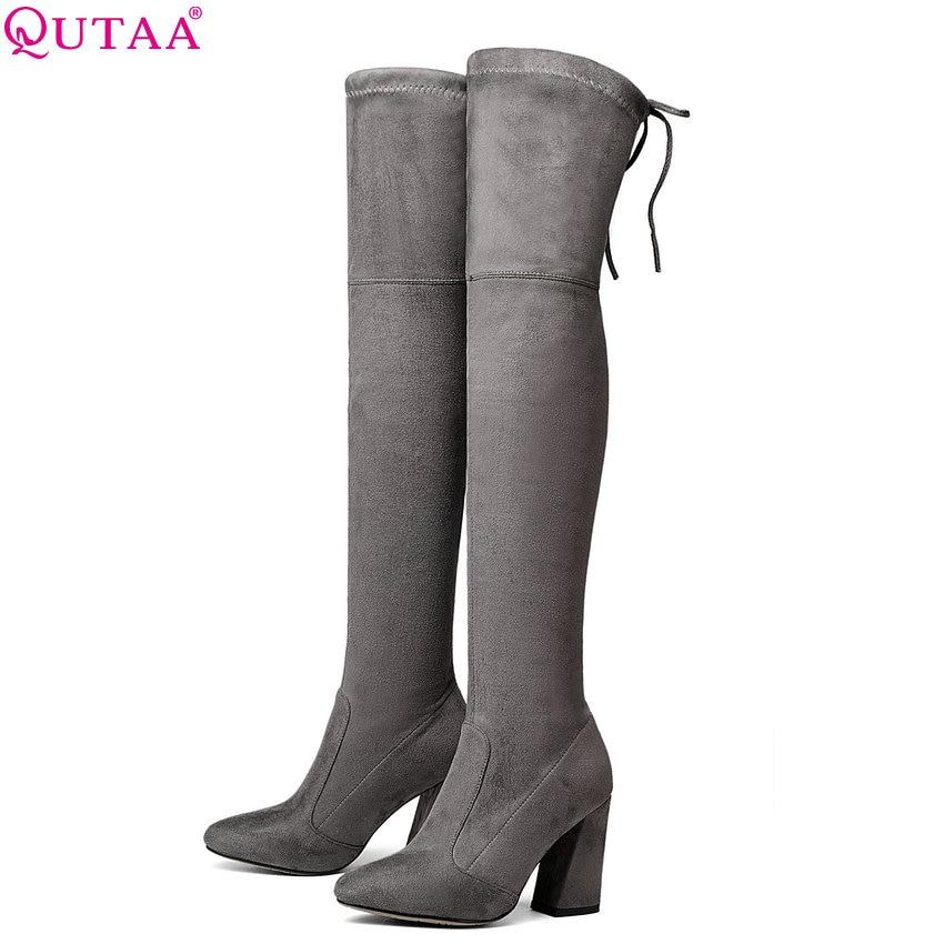 QUTAA 2020 Women Over The Knee High Boots Short Plush Inside Keep Warm Winter Fashion Sexy